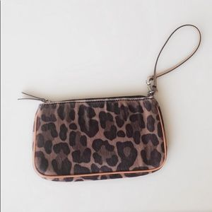Loft: Leopard Print with orange trim clutch.